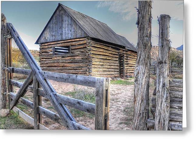 Southwest Gate Print Greeting Cards - Grafton Ghost Town Greeting Card by Wendy Elliott
