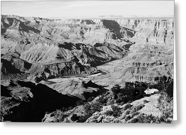 Grand Canyon Greeting Cards - Grand Canyon Eastern Sunset View Black and White Greeting Card by Shawn O