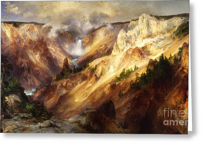 The Grand Canyon Paintings Greeting Cards - Grand Canyon of the Yellowstone Greeting Card by Celestial Images
