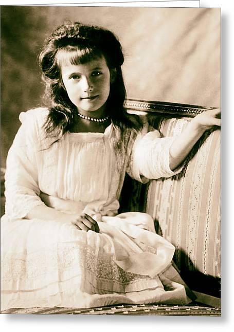 Romanov Greeting Cards - Grand Duchess Anastasia Nikolaevnav 1909 Greeting Card by Mountain Dreams
