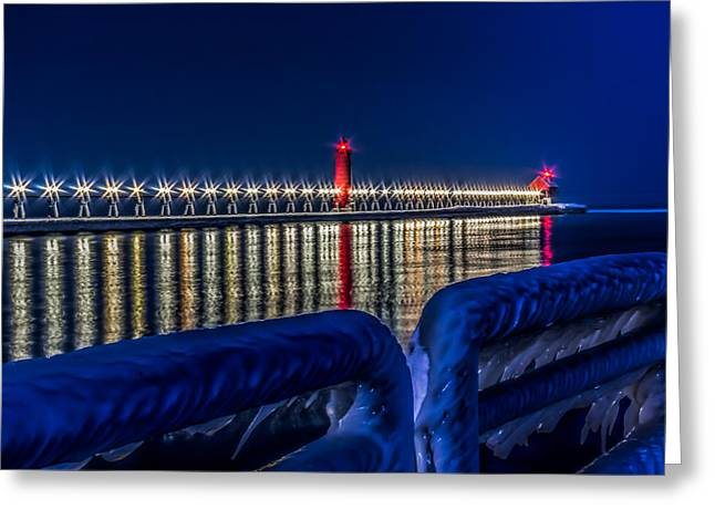 Get To The End Greeting Cards - Grand Haven Lighthouse Blue Minute Greeting Card by Joe Holley