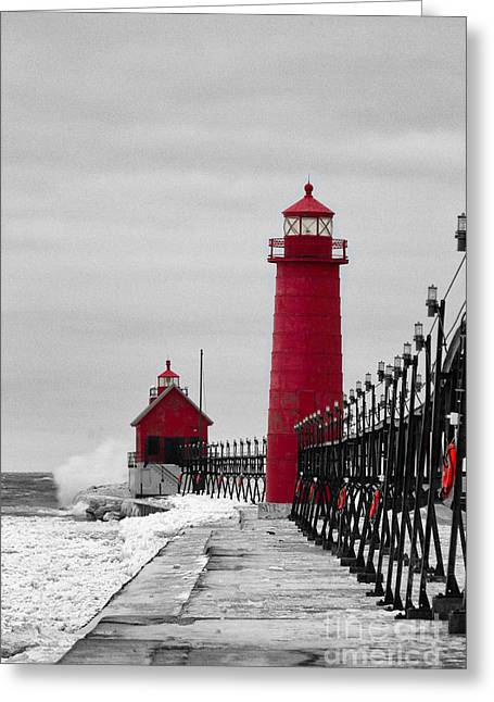 Blowing Snow Greeting Cards - Grand Haven Lighthouse Greeting Card by Todd Bielby