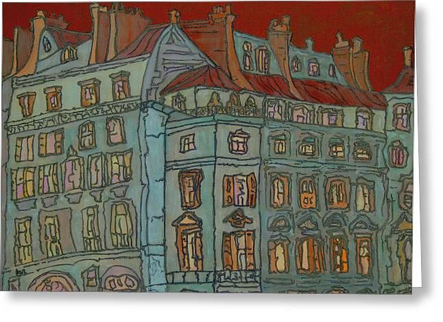 Prague Paintings Greeting Cards - Grand Hotel Greeting Card by Oscar Penalber