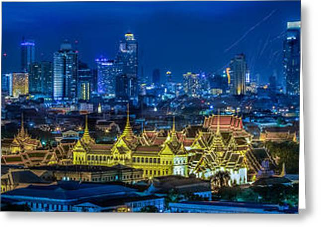 Office Space Greeting Cards - Grand palace at twilight in Bangkok between Loykratong festival Greeting Card by Anek Suwannaphoom