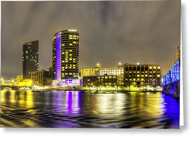 Grand River Greeting Cards - Grand Rapids Panorama Greeting Card by Twenty Two North Photography