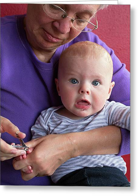 Grandmother Cuts Baby's Fingernails Greeting Card by Jim West