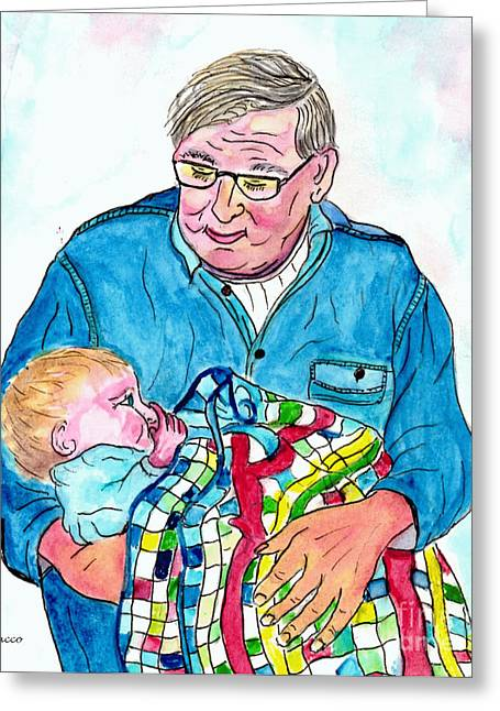 Photo Gallery Mixed Media Greeting Cards - Grandpas Bundle Of Joy Greeting Card by Philip Bracco