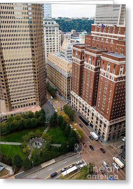 Traffic Greeting Cards - Grant Street as seen from USX Tower Greeting Card by Amy Cicconi