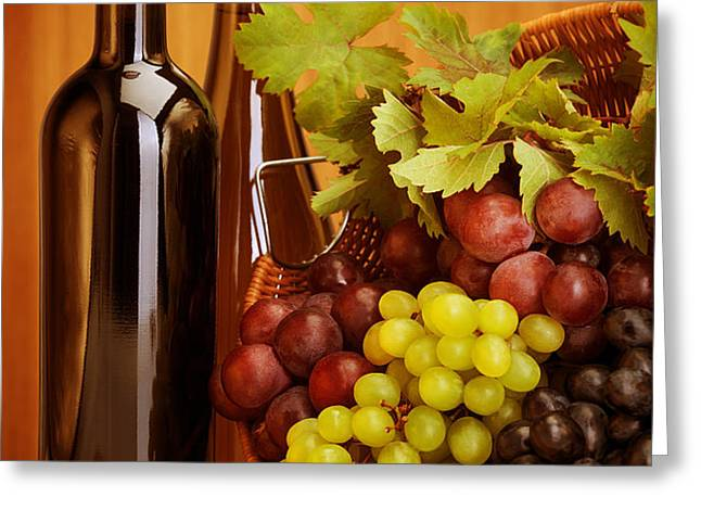 Grape wine still life Greeting Card by Anna Omelchenko