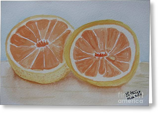 Grapefruit Paintings Greeting Cards - Grapefruit for Breakfast Greeting Card by Catalina Velasquez