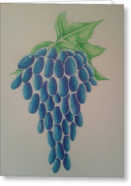 Blue Grapes Drawings Greeting Cards - Grapes Greeting Card by Emese Varga