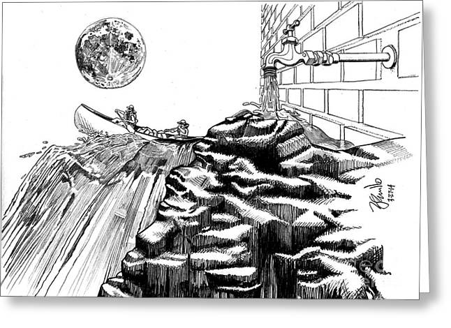 Flooding Drawings Greeting Cards - Gravity VS Proportion Greeting Card by Andooga Design
