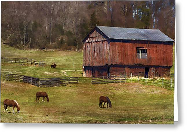 Grazing Greeting Card by Kathy Jennings