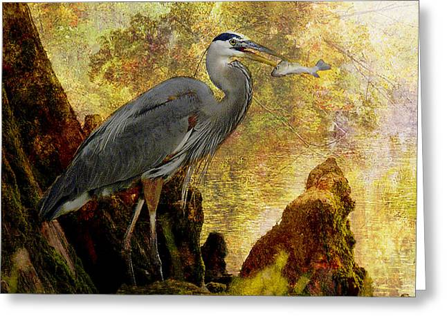 Sunrise Digital Art Greeting Cards - Great Blue Heron Morning Snack Greeting Card by J Larry Walker