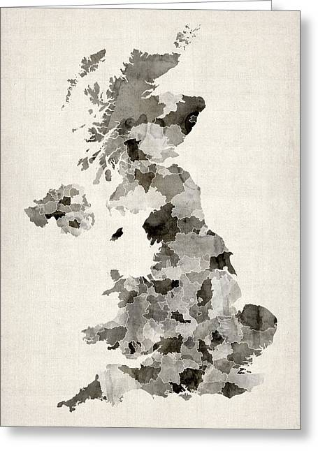 England Map Greeting Cards - Great Britain UK Watercolor Map Greeting Card by Michael Tompsett