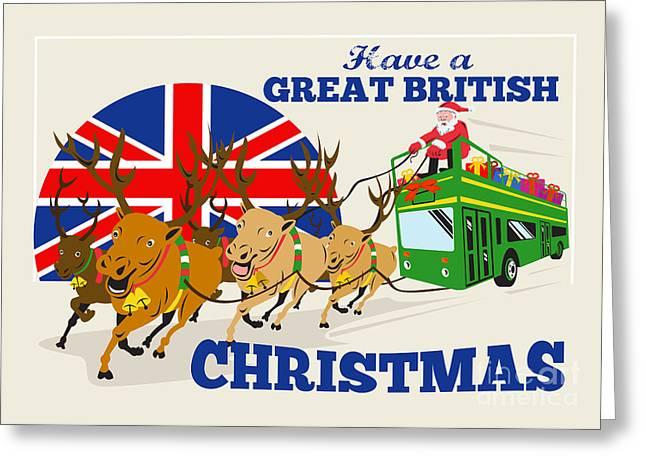 Great British Christmas Santa Reindeer Doube Decker Bus Greeting Card by Aloysius Patrimonio