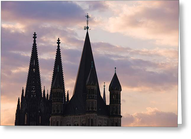 Cologne Greeting Cards - Great Saint Martin Church And Cologne Greeting Card by Panoramic Images