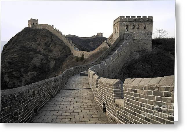 Surrounding Wall Greeting Cards - Great Wall of China in Jinshanlin Greeting Card by King Wu