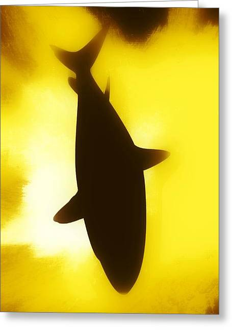 Sharks Digital Art Greeting Cards - Great White  Greeting Card by Aaron Berg