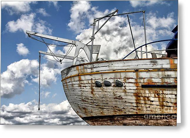 Catching Up Greeting Cards - Greek Fishing Boat Greeting Card by Stylianos Kleanthous