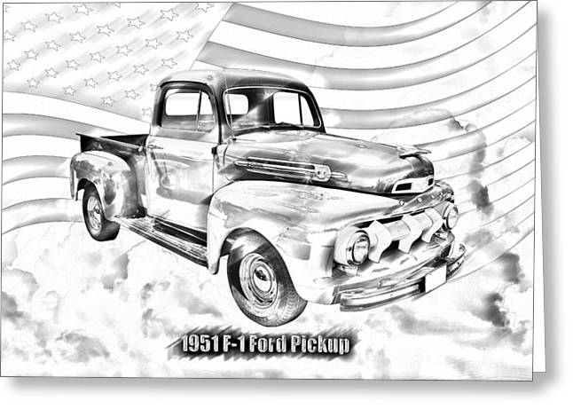 Antique Truck Greeting Cards - Green 1951 Ford F-1 Pickup Truck  Greeting Card by Keith Webber Jr