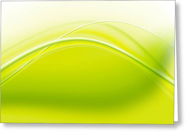 Abstract Style Greeting Cards - Green Abstract  Greeting Card by Modern Art Prints