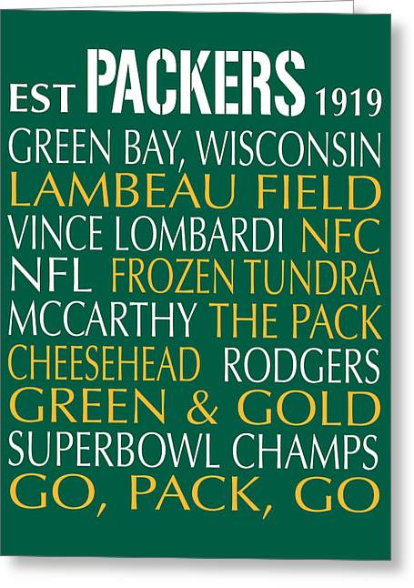 Football Words Greeting Cards - Green Bay Packers Greeting Card by Jaime Friedman
