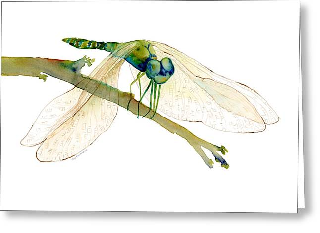 Blue Wings Greeting Cards - Green Dragonfly Greeting Card by Amy Kirkpatrick