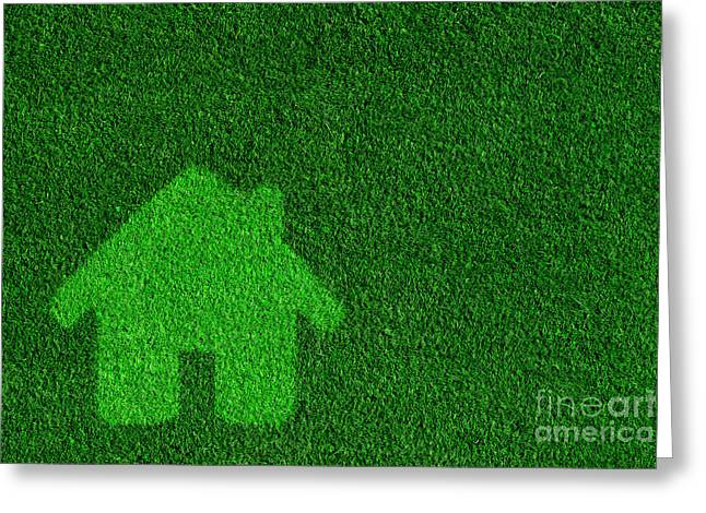 New Concepts Greeting Cards - Green eco friendly house Greeting Card by Michal Bednarek