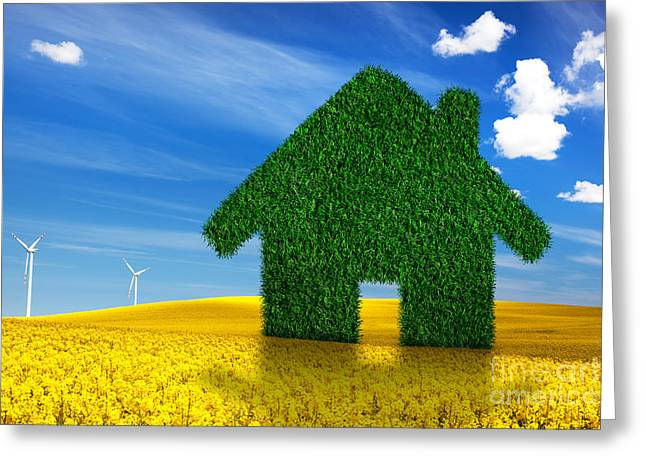 New Concepts Greeting Cards - Green ecological house Greeting Card by Michal Bednarek