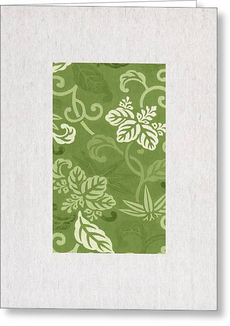 Green Pastel Greeting Cards - Green Flowers Greeting Card by Aged Pixel
