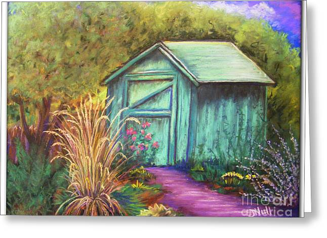 Garden Shed Pastels Greeting Cards - Green Garden Shed Greeting Card by Janet Hull