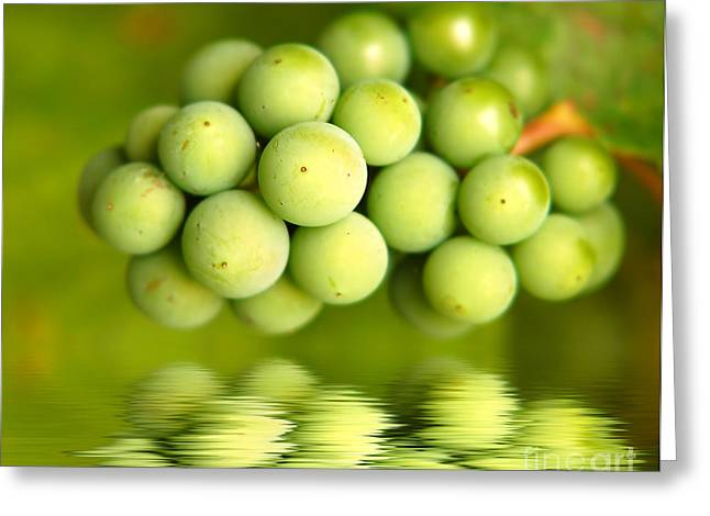 Pinot Noir Greeting Cards - Green grapes Greeting Card by Michal Bednarek