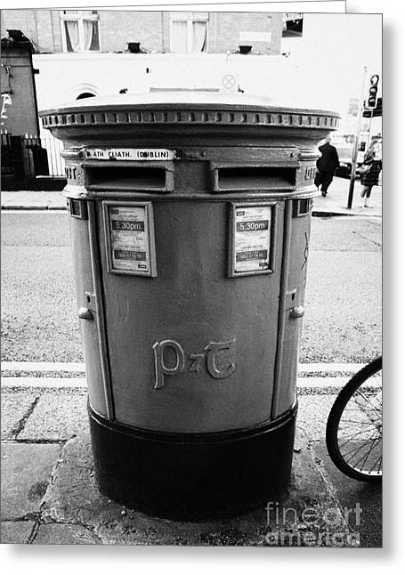 Pillar Box Greeting Cards - Green Irish Double Post Box With Post And Telegraphs Logo Dublin Republic Of Ireland Greeting Card by Joe Fox