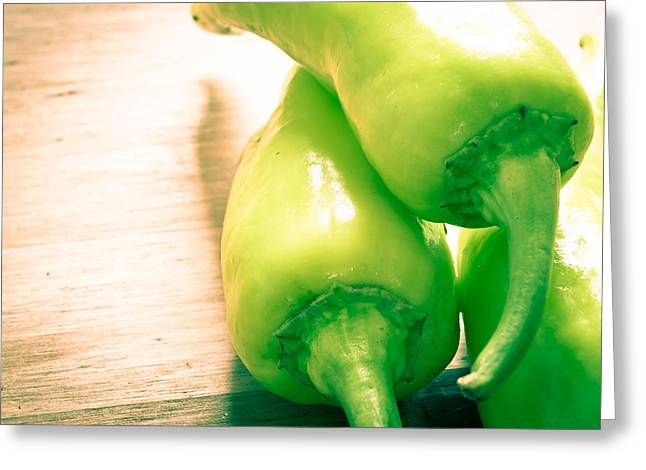 Spice Greeting Cards - Green jalapeno peppers Greeting Card by Tom Gowanlock
