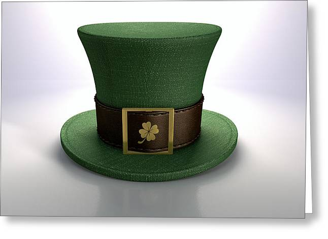 Buckle Greeting Cards - Green Leprechaun Shamrock Hat Greeting Card by Allan Swart