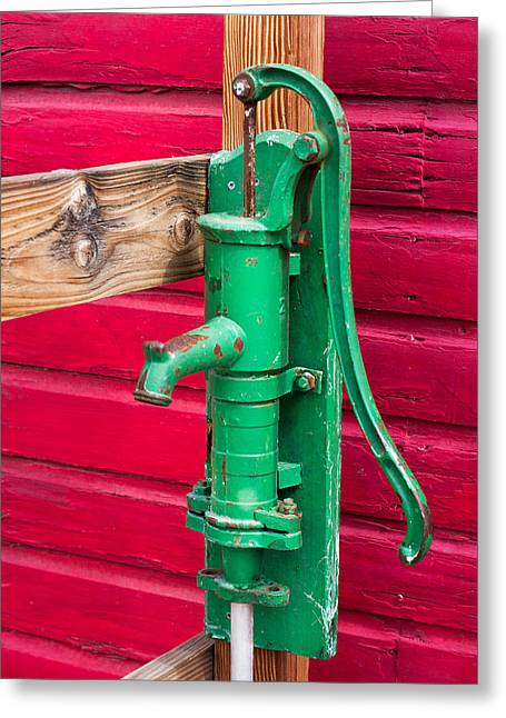 Green Manual Pump From Well Greeting Card by Gunter Nezhoda