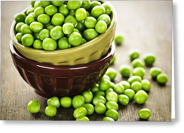 Organic Foods Greeting Cards - Green peas Greeting Card by Elena Elisseeva