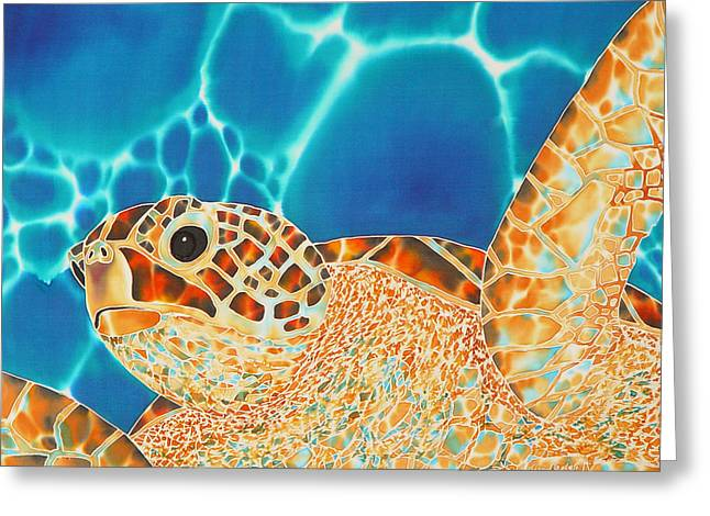 Marine Fish Tapestries - Textiles Greeting Cards - Green Sea Turtle Greeting Card by Daniel Jean-Baptiste