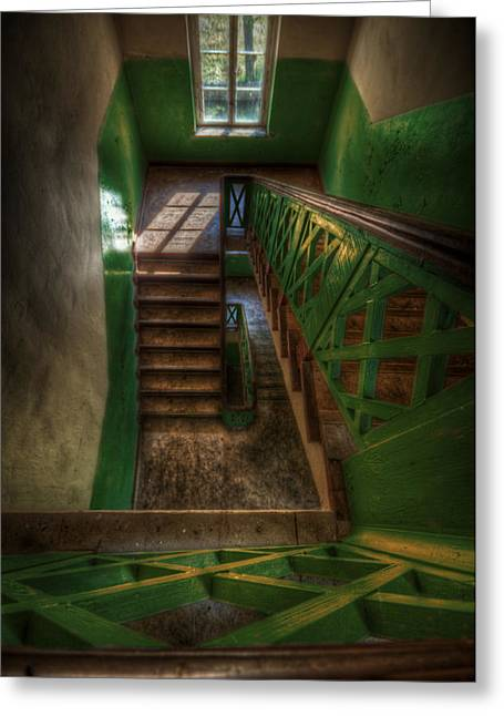 Wooden Stairs Greeting Cards - Green stairs Greeting Card by Nathan Wright