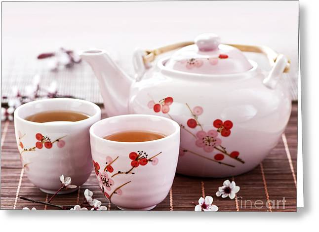 Ceramic Greeting Cards - Green tea set Greeting Card by Elena Elisseeva