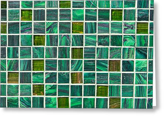 Backdrop Greeting Cards - Green tiles Greeting Card by Tom Gowanlock