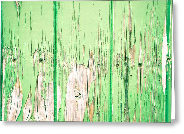 Carpenter Greeting Cards - Green wood Greeting Card by Tom Gowanlock