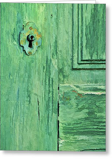 Medieval Entrance Greeting Cards - Green Wood Weathered Door Greeting Card by David Letts