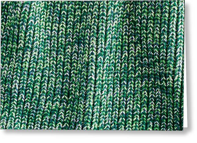 Emerald Green Abstract Greeting Cards - Green wool Greeting Card by Tom Gowanlock