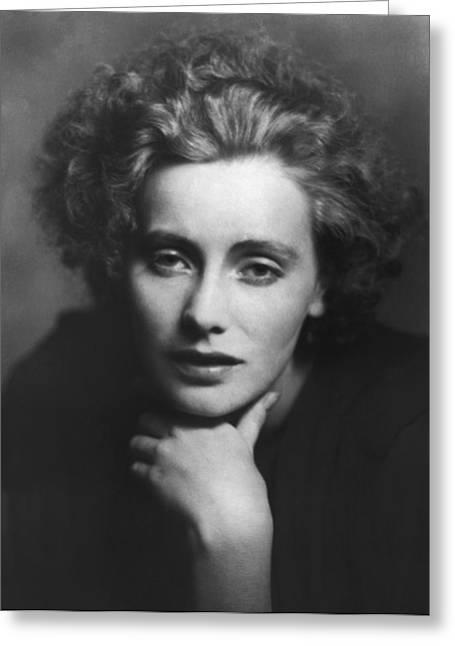 Movie Art Greeting Cards - Greta Garbo Portrait Greeting Card by Arnold Genthe