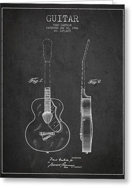 Gretsch Guitar Patent Drawing From 1941 - Dark Greeting Card by Aged Pixel