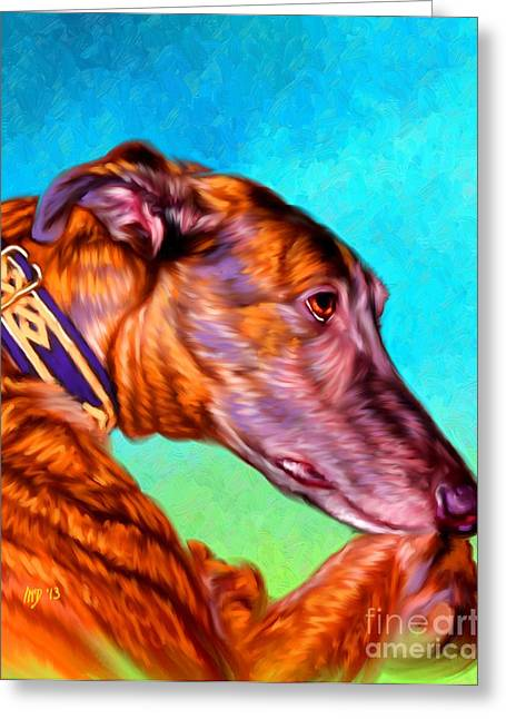 Greyhound Art Greeting Card by Iain McDonald
