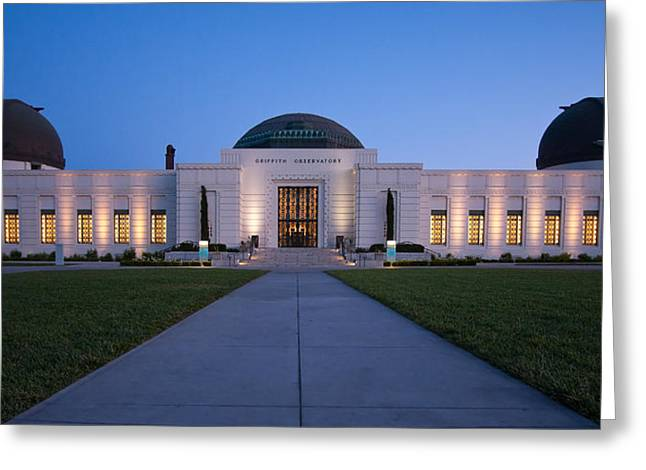 Dome Light Greeting Cards - Griffith Observatory Greeting Card by Adam Romanowicz