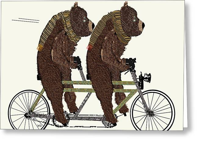 Love The Animal Greeting Cards - Grizzly Days Lets Tandem Greeting Card by Bri Buckley